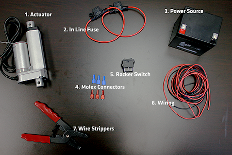 parts needed to wire a linear actuator to a rocker switch