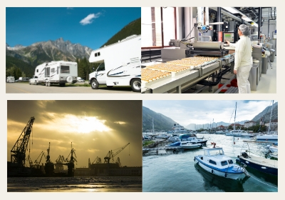 Image of the are food Industry, construction industry, recreation vehicles, and small yacht